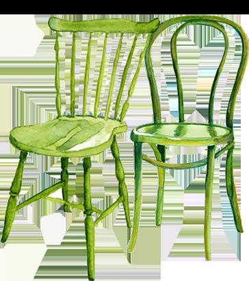 Grafika dwu krzeseł - odpadów gabarytowych